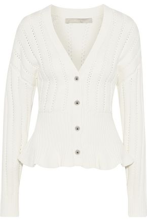 JASON WU Pointelle-knit modal-blend peplum cardigan