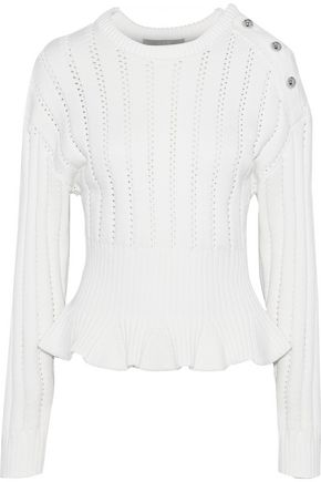 JASON WU Button-detailed pointelle-knit modal-blend peplum sweater