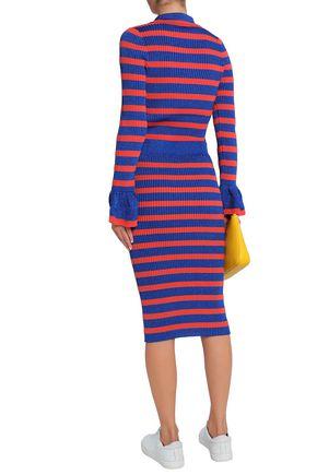 BAUM UND PFERDGARTEN Metallic striped ribbed-knit sweater