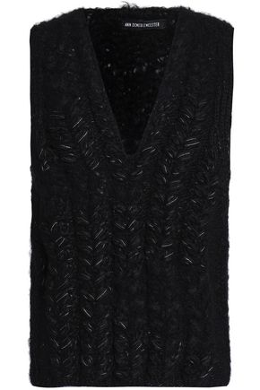 ANN DEMEULEMEESTER Lamé-trimmed cable-knit alpaca-blend sweater