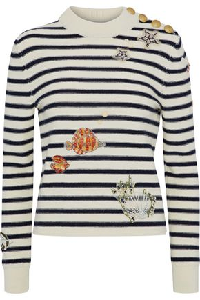 REDValentino Appliquéd striped wool sweater