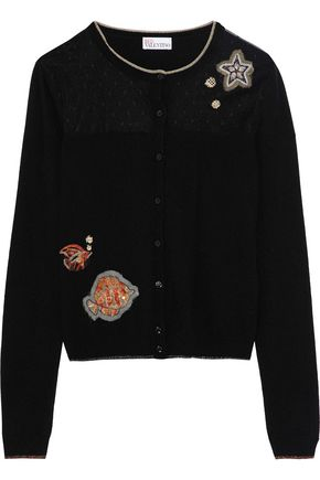 REDValentino Embellished point d'esprit-paneled stretch-knit cardigan