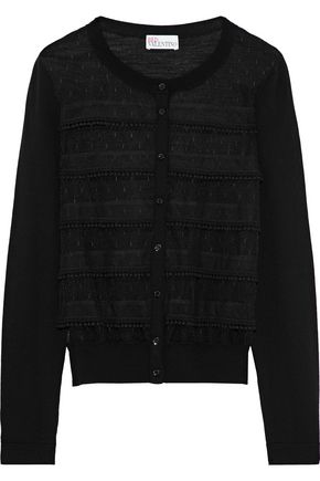 REDValentino Pompom-trimmed point d'esprit-paneled wool cardigan