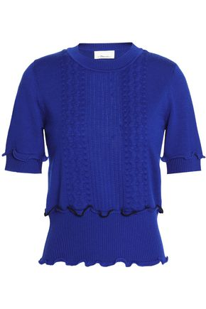 3.1 PHILLIP LIM Ruffle-trimmed pointelle-knit wool-blend sweater