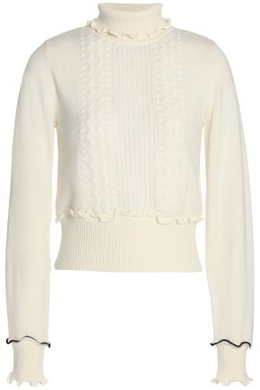 3.1 PHILLIP LIM Ruffle-trimmed pointelle-knit wool-blend turtleneck sweater