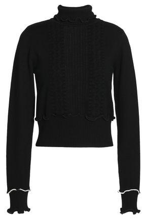 3.1 PHILLIP LIM Ruffle-trimmed pointelle-knit wool-blend turtleneck sweater