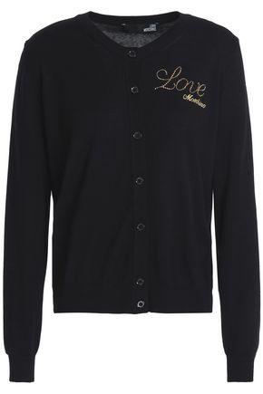 LOVE MOSCHINO Embellished embroidered cotton cardigan