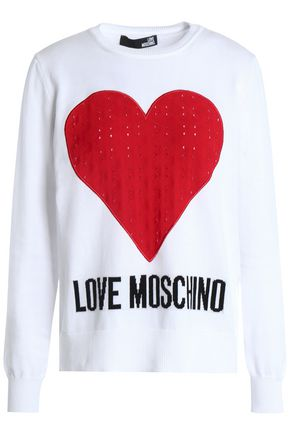 LOVE MOSCHINO Pointelle-trimmed intarsia cotton sweater