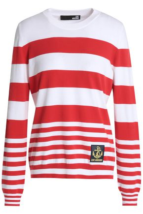 LOVE MOSCHINO Appliquéd striped stretch-knit sweater