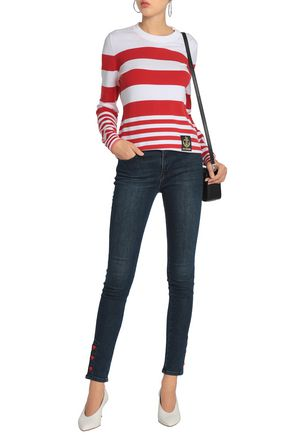 LOVE MOSCHINO Appliquéd striped stretch-knit sweater