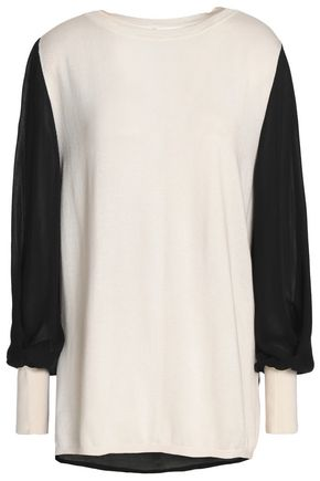 AMANDA WAKELEY Ray voile-paneled silk, wool and cashmere-blend sweater