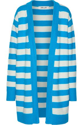 DIANE VON FURSTENBERG Oversized striped angora-blend cardigan