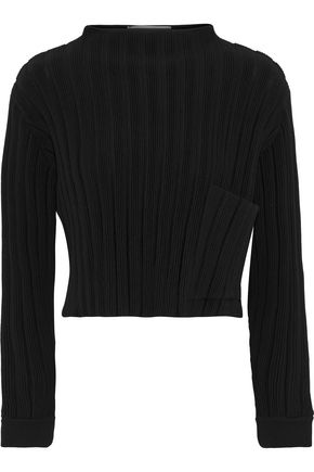 MOSCHINO Cropped ribbed wool sweater