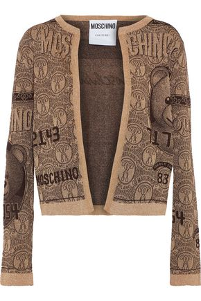 MOSCHINO Metallic jacquard-knit cardigan
