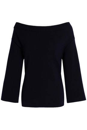 OSCAR DE LA RENTA Off-the-shoulder lace-up wool sweater