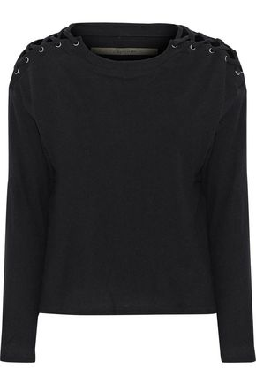 ENZA COSTA Lace-up cotton and cashmere-blend top