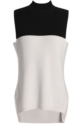 AMANDA WAKELEY Two-tone ribbed merino wool top
