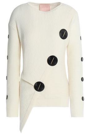 ROKSANDA Asymmetric button-embellished ribbed wool-blend sweater
