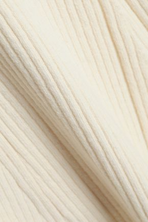 ROKSANDA Button-embellished ribbed wool-blend midi dress