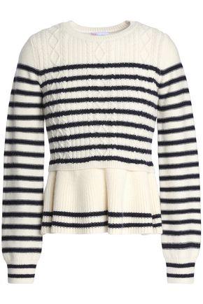 REDValentino Striped cable-knit wool peplum sweater