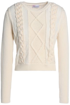 REDValentino Tulle-trimmed ribbed and cable-knit wool sweater