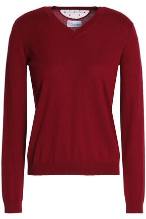 REDValentino Point d'esprit-trimmed cashmere and silk-blend sweater
