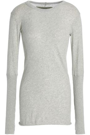Enza Costa WOMAN COTTON AND CASHMERE-BLEND TOP LIGHT GRAY