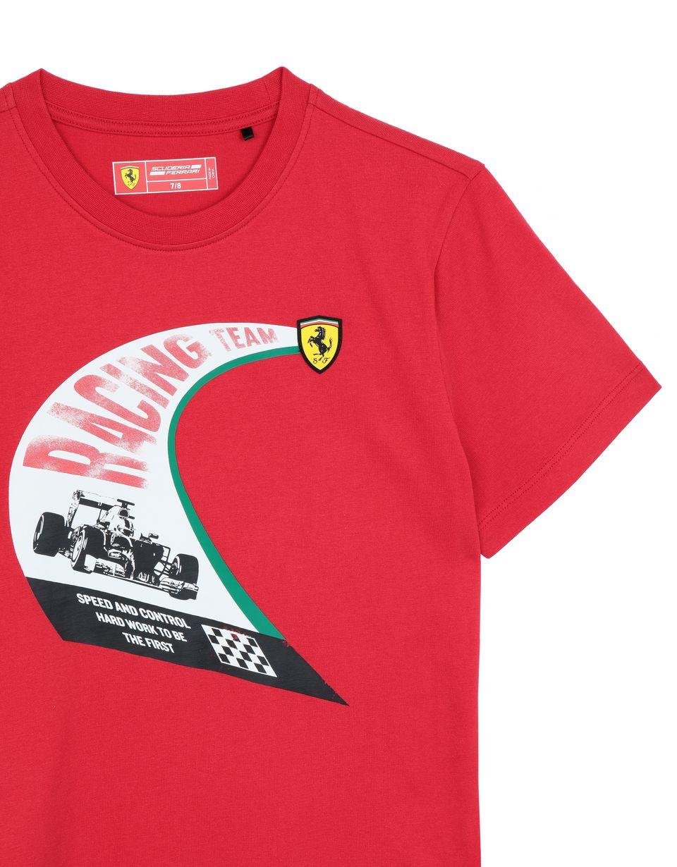 Scuderia Ferrari Online Store - T-shirt ragazzo in cotone con stampa vintage - T-shirt manica corta