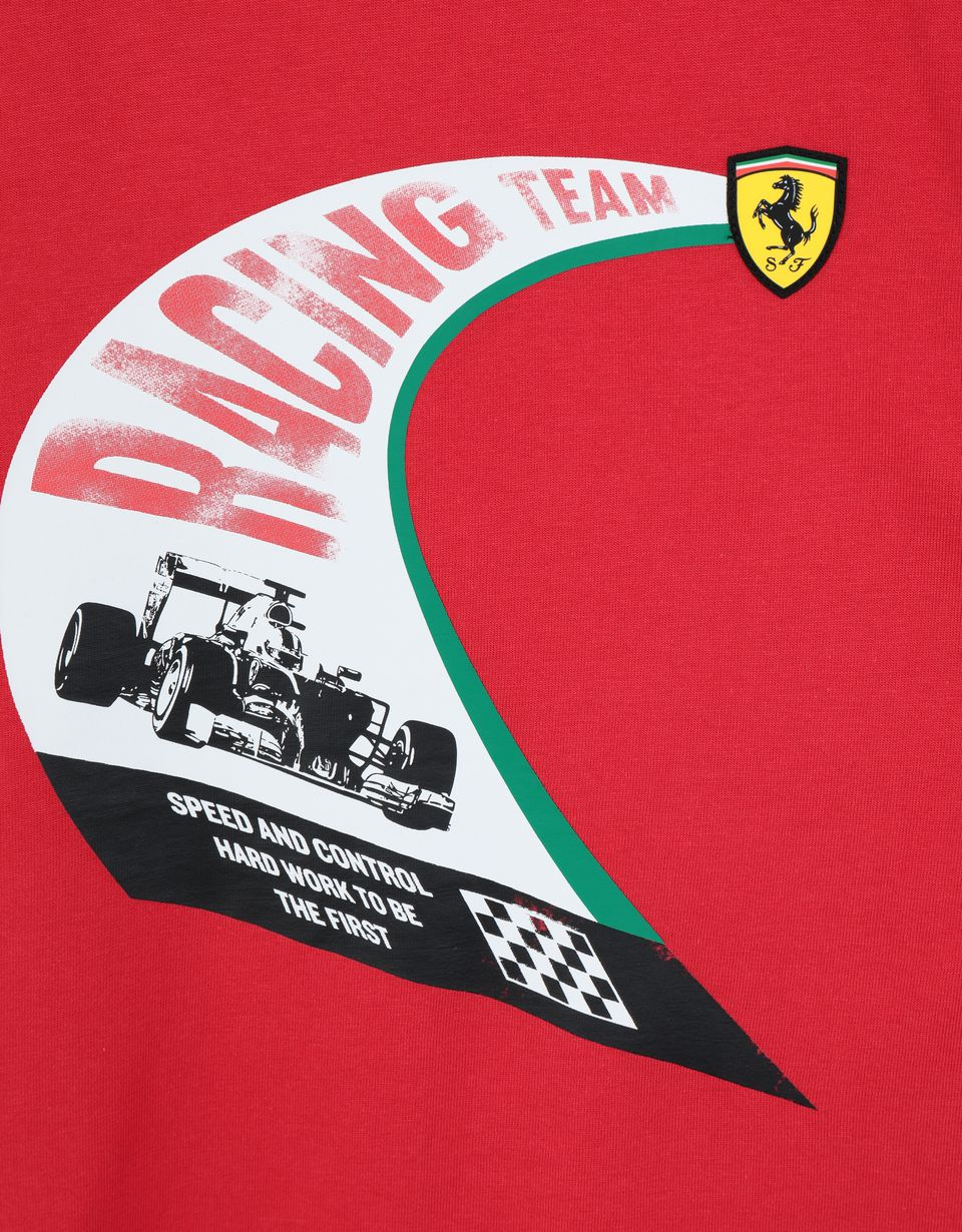 Scuderia Ferrari Online Store - Boys' cotton T-shirt with vintage print - Short Sleeve T-Shirts