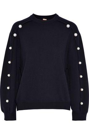ADAM LIPPES Faux pearl-embellished merino wool sweater