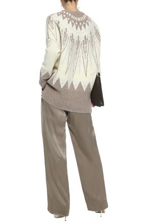 ADAM LIPPES Merino wool and cashmere-blend jacquard sweater