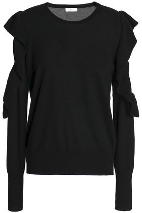 JOIE Cutout ruffle-trimmed wool and silk-blend sweater