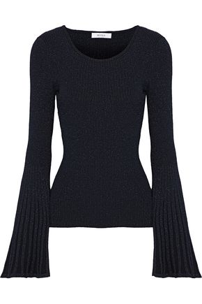 MILLY Metallic ribbed-knit sweater
