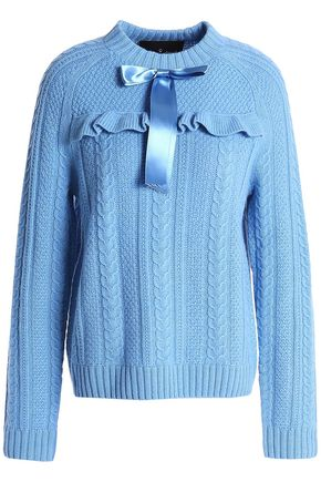 NEEDLE & THREAD Bow-embellished cable-knit merino wool sweater