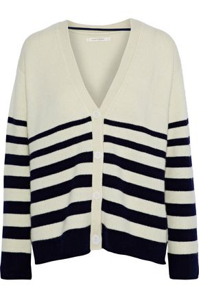 CHINTI AND PARKER Striped intarsia cashmere cardigan