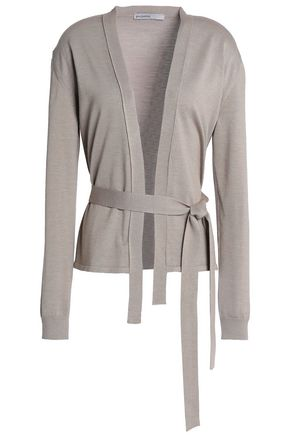GENTRYPORTOFINO Belted wool, silk and cashmere-blend cardigan