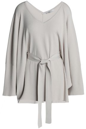 GENTRYPORTOFINO Belted ribbed-knit sweater