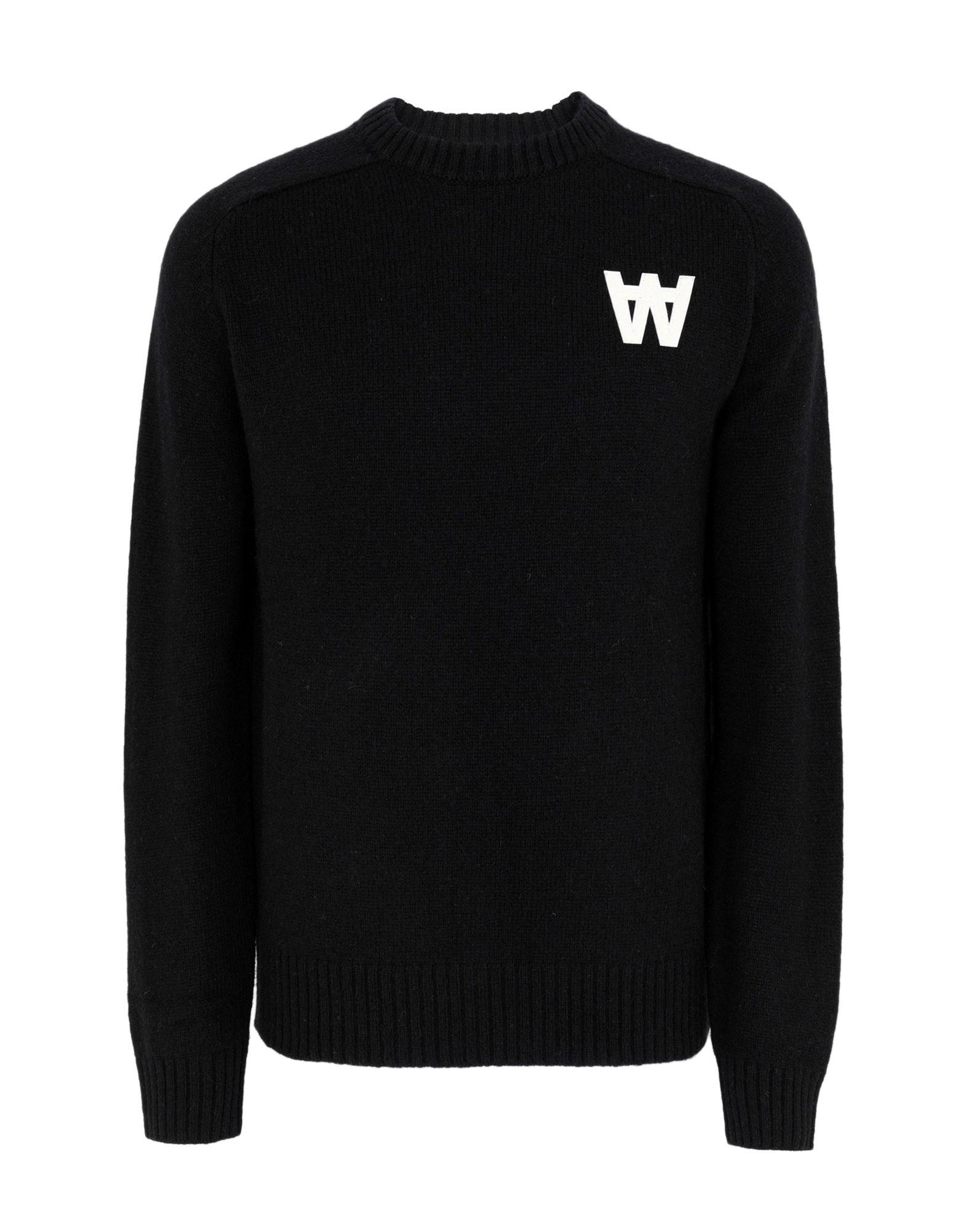 《送料無料》WOOD WOOD メンズ プルオーバー ブラック S ウール 100% Kevin sweater