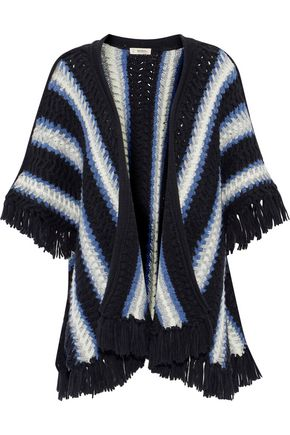 LEMLEM Grace fringe-trimmed striped wool-blend poncho