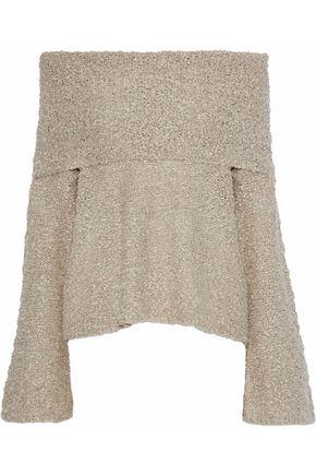 ELIZABETH AND JAMES Sophie off-the-shoulder bouclé linen-blend sweater