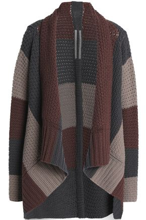 RICK OWENS Asymmetric striped wool cardigan