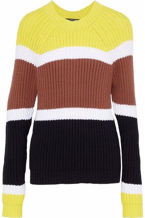 DEREK LAM Ribbed color-block cotton-blend sweater