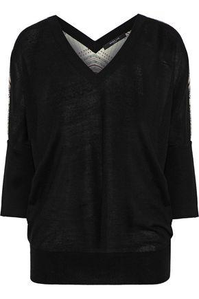 DEREK LAM Printed silk-paneled cashmere sweater