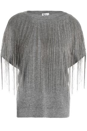 BRUNELLO CUCINELLI Fringed bead-embellished mélange cashmere top