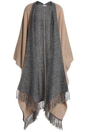 BRUNELLO CUCINELLI Fringe-trimmed metallic knitted cape
