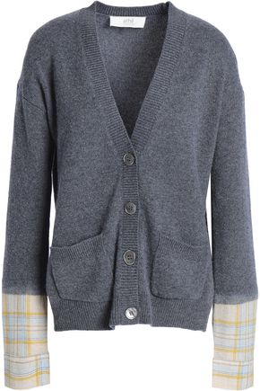 VANESSA BRUNO ATHE' Paneled checked wool-blend cardigan