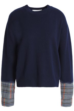 VANESSA BRUNO ATHE' Paneled checked wool-blend sweater