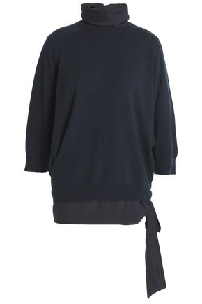 BRUNELLO CUCINELLI Layered cashmere and silk-blend turtleneck sweater