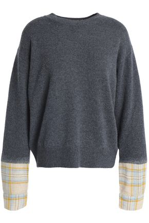 VANESSA BRUNO ATHE' Paneled checked wool-blend sweater