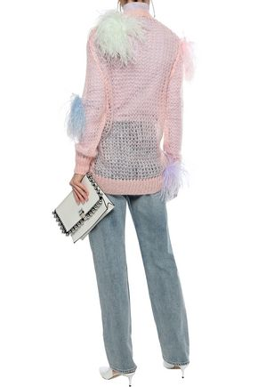 CHRISTOPHER KANE Embellished open-knit mohair-blend cardigan